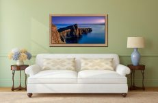 Golden Cliffs of Neist Point - Oak floater frame with acrylic glazing on Wall