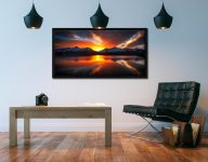 Winter Sunset Over Derwent Water - Black oak floater frame with acrylic glazing on Wall