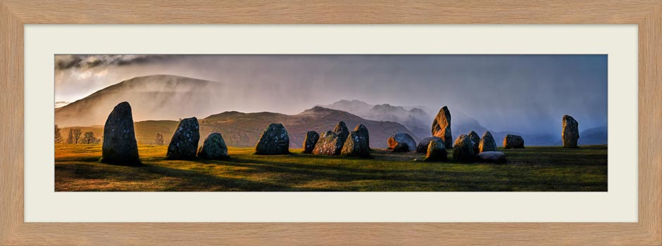 Sunlight and Showers at Castlerigg - Framed Print
