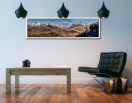 Eskdale Needle and Scafell Panorama - White Maple floater frame with acrylic glazing on Wall