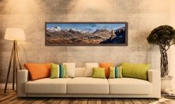 Eskdale Needle and Scafell Panorama - Walnut floater frame with acrylic glazing on Wall