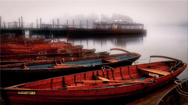 Red Boats in the Mist - Canvas Print
