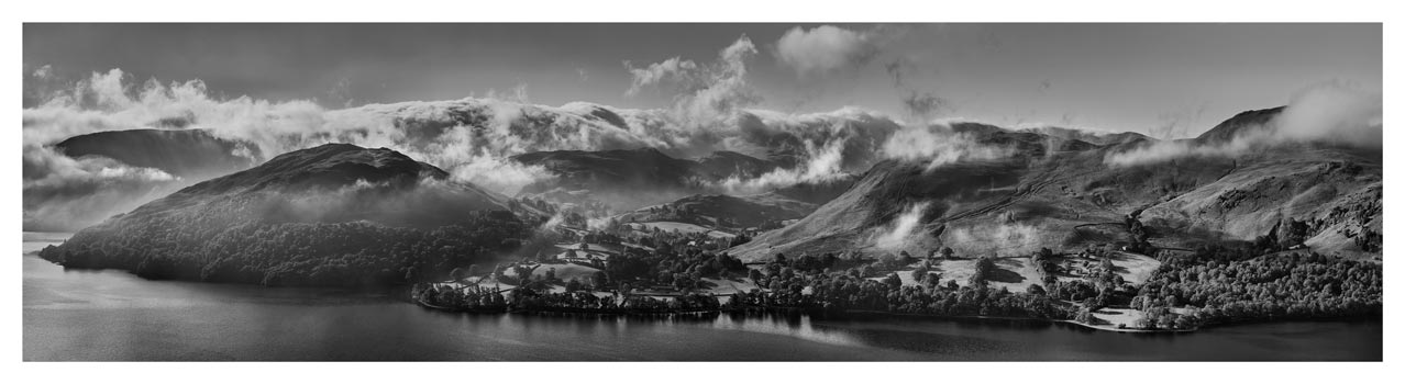 Ullswater Clouds and Mists - Black White Lake District Print