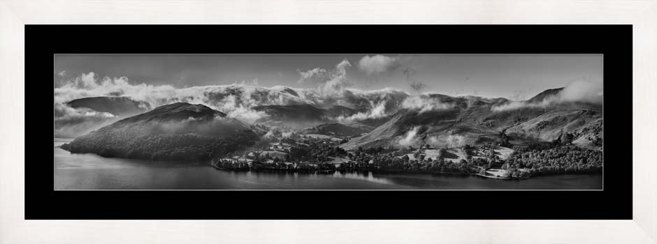 Ullswater Clouds and Mists - Black White Framed Print