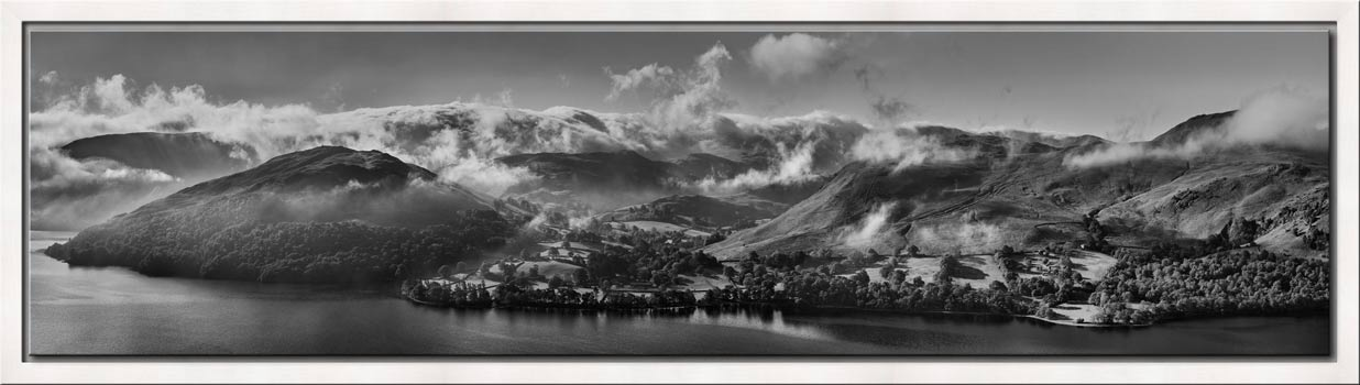 Ullswater Clouds and Mists - Black White Modern Print