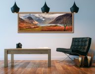 The last colours of Autumn fading away at Wast Water - Oak floater frame with acrylic glazing on Wall