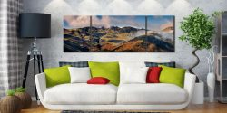 Crinkle Crags from Great Langdale - 3 Panel Wide Mid Canvas on Wall