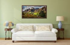 Cumbrian Way Langdale - Walnut floater frame with acrylic glazing on Wall