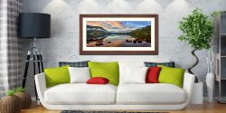 Ullswater Morning Mists - Framed Print with Mount on Wall