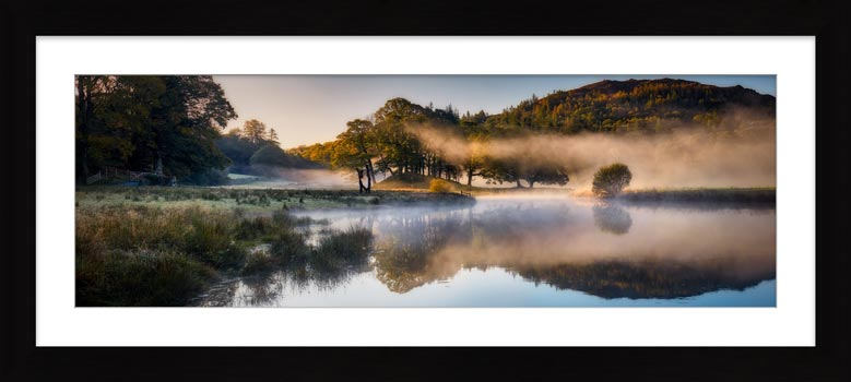 River Brathay Misty Panorama - Framed Print with Mount