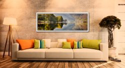 Hazy summer serenity at Buttermere - White Maple floater frame with acrylic glazing on Wall
