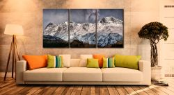 Snow on the Langdales - 3 Panel Canvas on Wall