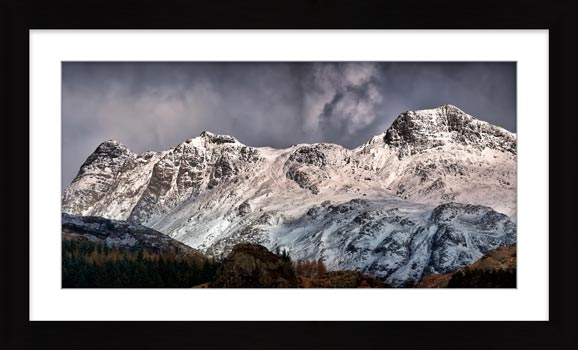 Snow on the Langdales - Framed Print with Mount