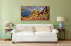 Castle Crag Autumn Sunshine - Oak floater frame with acrylic glazing on Wall