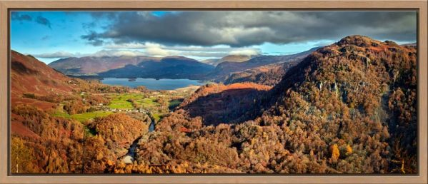 Autumn sunshine on Skiddaw and Derwent Water - Oak floater frame with acrylic glazing