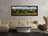 Panoramic view from near Satura Crag looking towards Hartsop Dodd and Brothers Water in Cumbria - Black oak floater frame with acrylic glazing on Wall