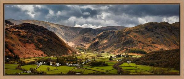 Sunny intervals over Rosthwaite in the beautiful Borrowdale Valley - Oak floater frame with acrylic glazing