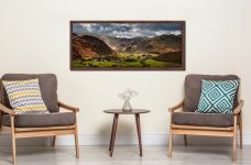 Sunny intervals over Rosthwaite in the beautiful Borrowdale Valley - Walnut floater frame with acrylic glazing on Wall