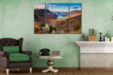 Buttermere Valley from Hay Stacks  - A 3 panel wide centre canvas on Wall