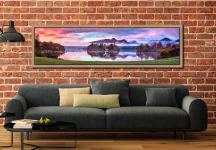 Derwent Water Sunrise - Oak floater frame with acrylic glazing on Wall