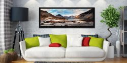 Snow on the fells around Wast Water in the Lake District - Black oak floater frame with acrylic glazing on Wall