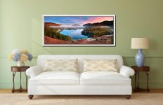 The pastel colours of dawn over Grasmere on an autumn morning - White Maple floater frame with acrylic glazing on Wall