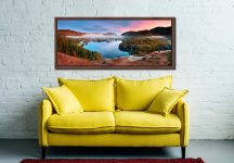 The pastel colours of dawn over Grasmere on an autumn morning - Walnut floater frame with acrylic glazing on Wall