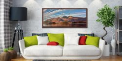 Autumn sunshine on Skiddaw and Derwent Water - Walnut floater frame with acrylic glazing on Wall