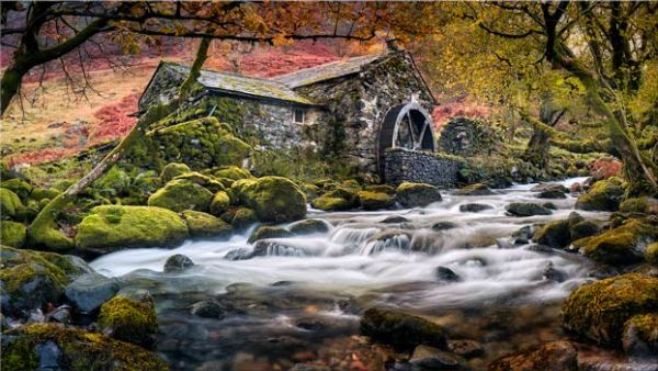 Canvas print The old watermill on Combe Gill in Borrowdale. Lake District Canvas