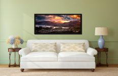 Golden sun rays at dusk beaming over Cat Bells - Black oak floater frame with acrylic glazing on Wall