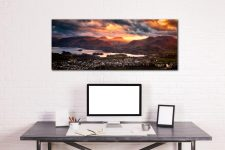 Golden sun rays at dusk beaming over Cat Bells - Print Aluminium Backing With Acrylic Glazing on Wall