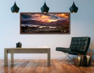 Golden sun rays at dusk beaming over Cat Bells - Walnut floater frame with acrylic glazing on Wall
