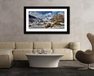 The Langdale Boulders in Winter - Framed Print with Mount on Wall