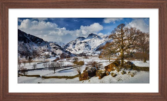 The Langdale Boulders in Winter - Framed Print with Mount