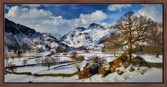 The Langdale Boulders in Winter - Modern Print