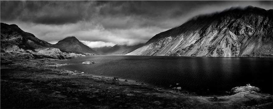 Sunlight on Wast Water - Black White Canvas