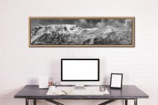 Snow Capped Helvellyn Mountains - Oak floater frame with acrylic glazing on Wall