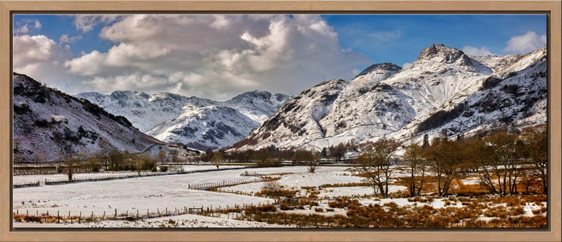 Snow on the Mountains of Langdale - Modern Print