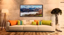 Great Langdale Mountains and Mist - Walnut floater frame with acrylic glazing on Wall