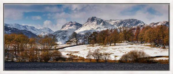 The Langdale Pikes in winter viewed from Loughrigg Tarn in Langdale