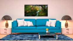 Autumn colours around the River Derwent in the Borrowdale Valley in the Lake District - Print Aluminium Backing With Acrylic Glazing on Wall