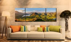 Loweswater Fell Summit - 3 Panel Wide Mid Canvas on Wall