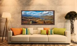 View looking north down Coniston Water towards Langdale - Walnut floater frame with acrylic glazing on Wall