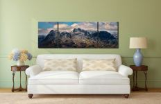 The Langdales and Pavey Ark - 3 Panel Wide Mid Canvas on Wall