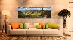 Helvellyn to St Sunday Crag - 3 Panel Wide Mid Canvas on Wall