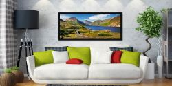 The green and pleasant land around Wast Water on a summer afternoon - Black oak floater frame with acrylic glazing on Wall