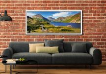 The green and pleasant land around Wast Water on a summer afternoon - White Maple floater frame with acrylic glazing on Wall