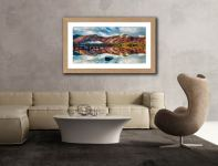 Late Autumn at Ashness Jetty - Framed Print with Mount on Wall