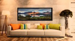 Early morning sunlight on Cat Bells across Derwent Water - Black oak floater frame with acrylic glazing on Wall