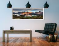 Early morning sunlight on Cat Bells across Derwent Water - White Maple floater frame with acrylic glazing on Wall